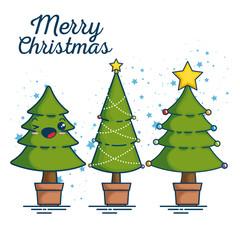 merry christmas kawaii concept