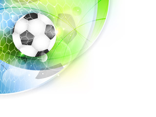 Soccer vector banner with net, ball and glitter.