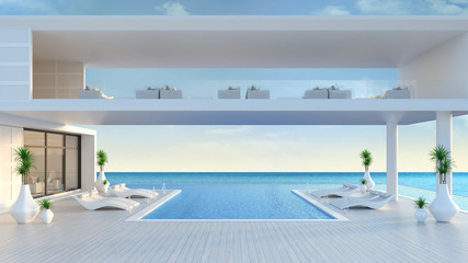 A modern house,Beach lounge ,sun loungers on Sunbathing deck and private swimming pool at luxury villa/3d rendering