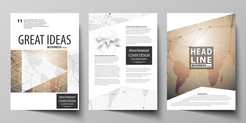 The vector illustration of editable layout of three A4 format modern covers design templates for brochure, magazine, flyer, booklet. Global network connections, technology background with world map.