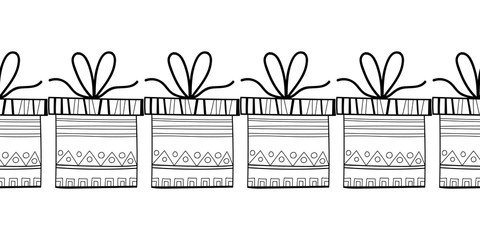 Decorative gift boxes. Black and white illustration for coloring book, page.