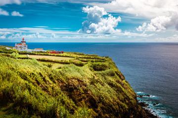 Beautiful view over Lighthouse Farol da Ponta da Ferraria in Sao Miguel Island Azores Portugal