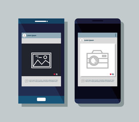 smartphones set isolated icons vector illustration design