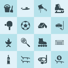 Simple 16 set of leisure filled icons