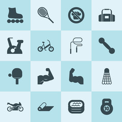 Simple 16 set of fitness filled icons