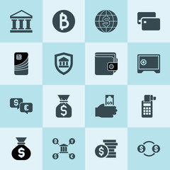 Simple 16 set of bank filled icons