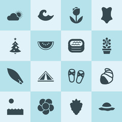 Simple 16 set of summer filled icons