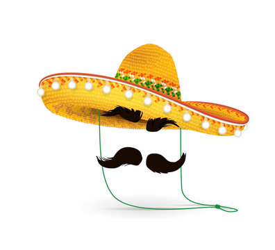 Sombrero Hat vector illustration. Mexican hat on white background. Masquerade or carnival costume headdress.