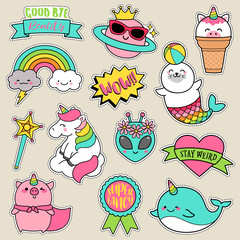 Set of fashion patches, cute pastel badges, fun cartoon doodles vector in girl motivation concept