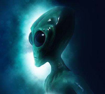 Portrait of an alien in dark background. 3D illustration