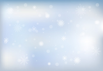 Winter and snowflake on sky background