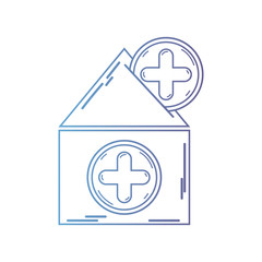 line house blood dotaion with cross symbol