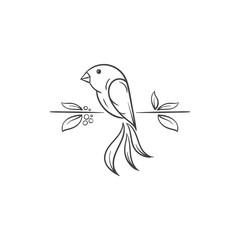 beautiful floral bird vector illustration
