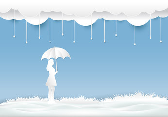 Girl with umbrella under the rain in meadow,  Paper cut, Paper art illustration