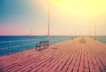 Wooden embankment in the summer morning.  Limassol, Cyprus
