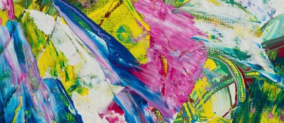 Sommerliche Malerei/ Gemälde, Gouache-Farben auf Leinwand, Hintergrund