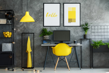 Creative workspace with painting