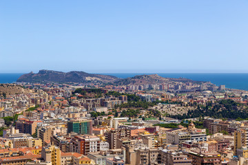 Cagliari, Sardinia, Italy. Scenic view of the city from a bird's eye view