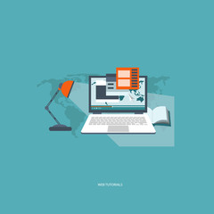Web tutorials concept. Flat vector illustration.