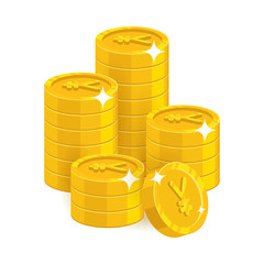 Stack gold Chinese yuan or Japanese yen isolated cartoon. Bunches of gold yuan or yen for designers and illustrators. Gold stacks vector illustration