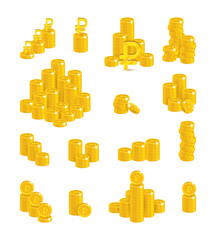 Slides gold rubles isolated cartoon set. A lot of slides and piles of gold rubles and ruble signs for designers and illustrators. Gold stacks of pieces in the form of a vector illustration