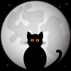 Black silhouette of cat sitting in front of the full moon. Vector illustration.
