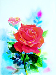Painting red color of rose flower and  emotion