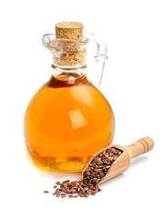 Flax seeds and oil isolated.