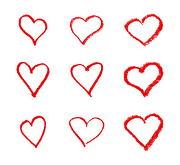 Hand drawn heart icon set