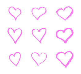 Hand drawn heart icon set