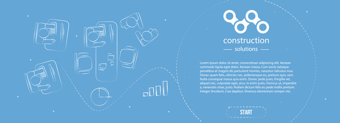 Web banner in style business minimalism. Ready module for the landing page. Office top view on blue background.