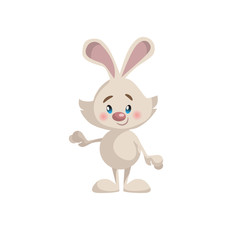 Cartoon trendy style cute standing and smiling bunny mascot icon. Simple gradient vector illustration isolated on white background.