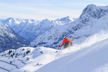 Skifahrer vor imposanter Gebirgskulisse