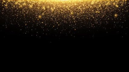 Abstract falling golden lights. Magic gold dust and glare. Festive Christmas background. Golden rain. Vector