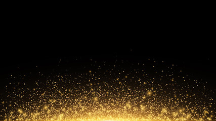 Wall Mural - Abstract golden lights with backlight. Flying magical golden dust and glare. Festive Christmas background. Golden Rain. Vector