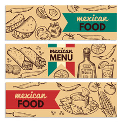 Banners set with picture of different mexican foods for restaurant menu