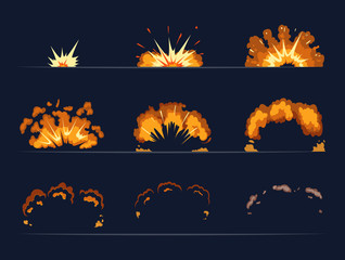 Key frames of bomb explosion. Cartoon illustration in vector style