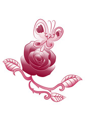 butterfly rose flower tattoo