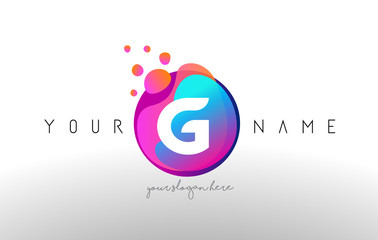 G Dots Letter Logo With Bubbles. A Letter Design Vector with Vibtant Colored Particles.
