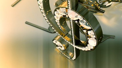 Composition of voluminous musical signs. 3D rendering of a musical treble clef and falling notes