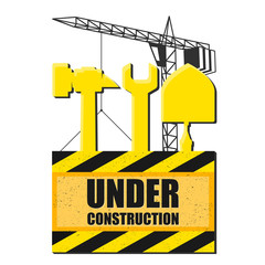 Symbol of construction with tools