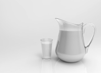 3d rendering. Milk in a jug and glass on gray background