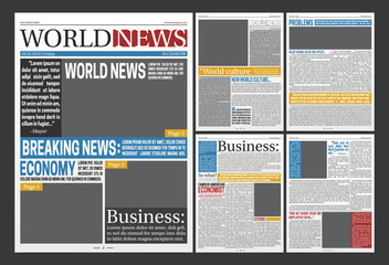 Newspaper  Headlines Template Realistic Poster