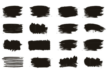 Set of black paint, ink brush strokes