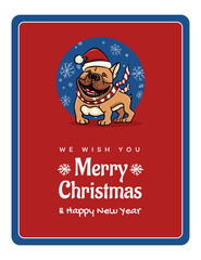 greetings card We wish You a Marry Christmas and Happy New Year, funny English Bulldog