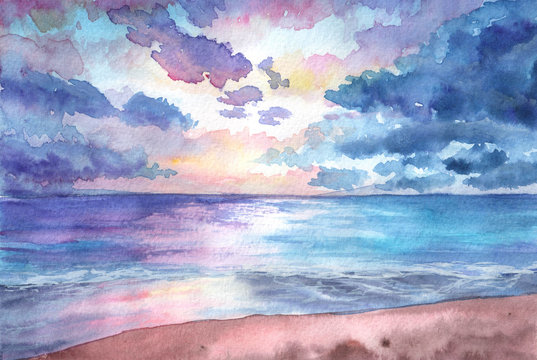 Hand drawn watercolor illustration. Seascape with sunset in the beach. tropical, nature, beuty, relax