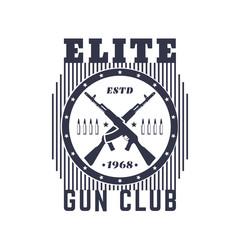 Gun club vintage emblem with automatic rifles, t-shirt print on white