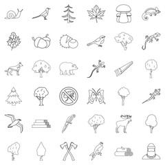 Bug icons set, outline style