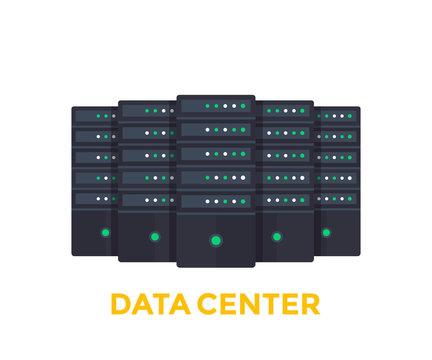 servers, big data center vector illustration