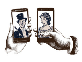 lady and gentleman taking selfie template with hand holding mobile with photo. Hand drawn engraving style pen crosshatch hatching paper painting retro vintage vector lineart illustration of smartphone